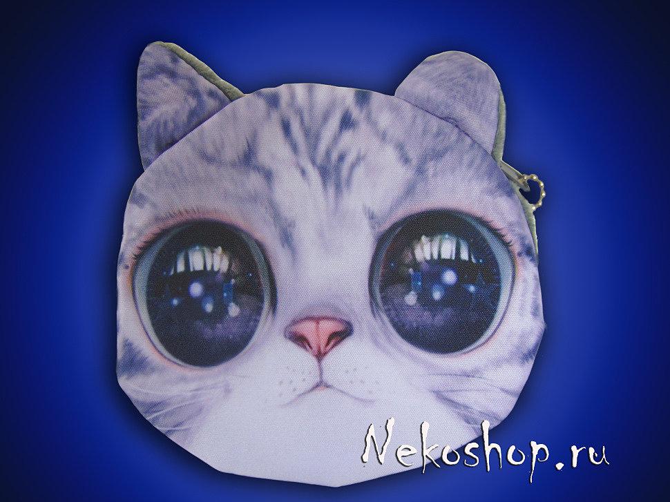 Кошелек коты (Круглый большие голубые глаза)